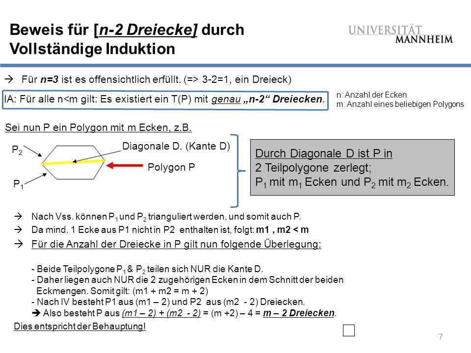 Beweis für [n-2 Dreiecke] durch Vollständige Induktion